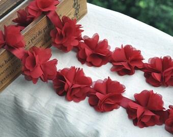 bridal flower lace trim, wine red rosette lace trim, floral trim lace, wedding accessories, bridal headpiece headband, wedding sash