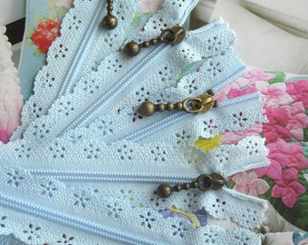 Light Blue Lace Zippers Supplies Trim DIY Fabric Crafts Alterations Supplies Handmade Fabric Supplies 9 inches Long 5 pcs