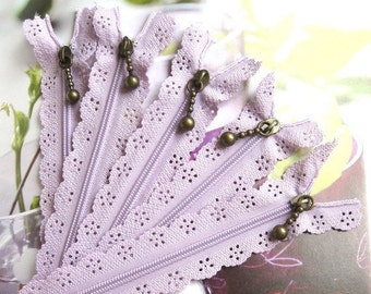 Lavender Purple Lace Zippers Supplies Trim DIY Fabric Crafts Alterations Supplies Handmade Fabric Supplies 9 inches Long 5 pcs