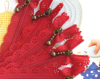 Hot Red Lace Zippers Supplies Trim DIY Fabric Crafts Alterations Supplies Handmade Fabric Supplies 9 inches Long 5 pcs