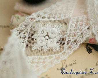 Retro Lace Trim, White Gauze Lace, Bridal Wedding Lace , Wedding Accessories, Floral Lace Trim