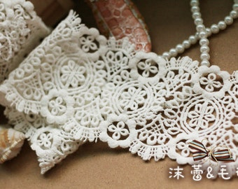 White Lace Trim , White Venice Lace, Bridal Lace, Costume Altered Couture Supplies