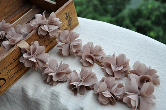Chiffon Flower Lace Trim Earth Tone Dress Costume Headwear Home Decor  Supplies 2.37 Inches Wide