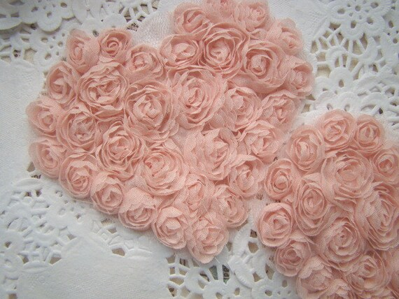 2 PCS Heart-shaped Nude Pink  Rose Applique Altered Art or couture.costume or Jewelry Design Supplies