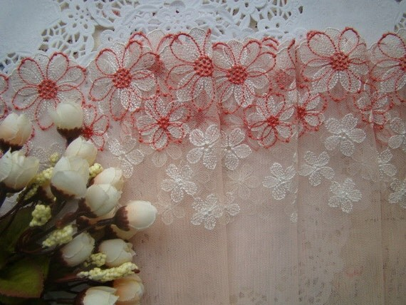 Pink Foral Lace Trim Embroidered Lace Underware Lace Custom Made Bra Supplies 7.08'' 2 Yards