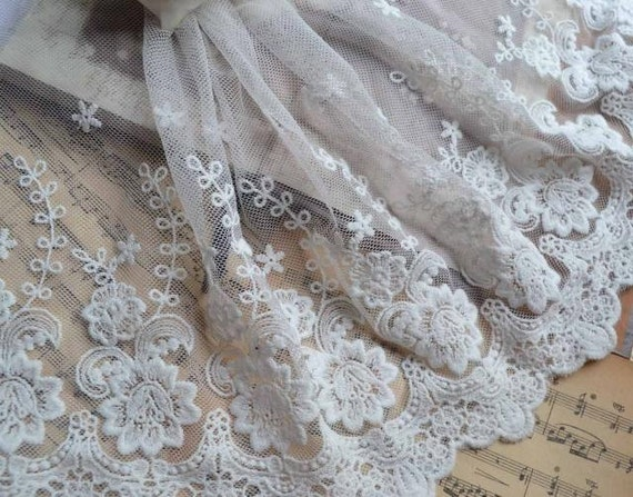 Cotton Lace Trim White Rose Embroidered Lace Super Wide 7.87 Inches Wide 2 Yards for Home Decor Costume Supplies Altered Couture