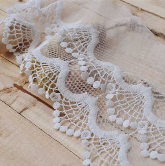 Cotton Lace Trim White Wave Embroidered Lace Super Wide 6.3 Inches Wide 2 Yards for Home Decor Costume Supplies Altered Couture