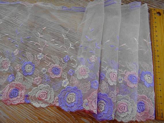Lavender Rose Embroidered Trim Floral Pattern  for Home Decor Altered Couture Costume Bra Lingerie Supplies 7.87Inches Wide 2 Yards