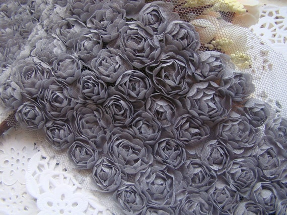 6 Row Rose Lace Trim 3D Grey for Dress making, Wedding Supplies and Home Decoration Altered Couture
