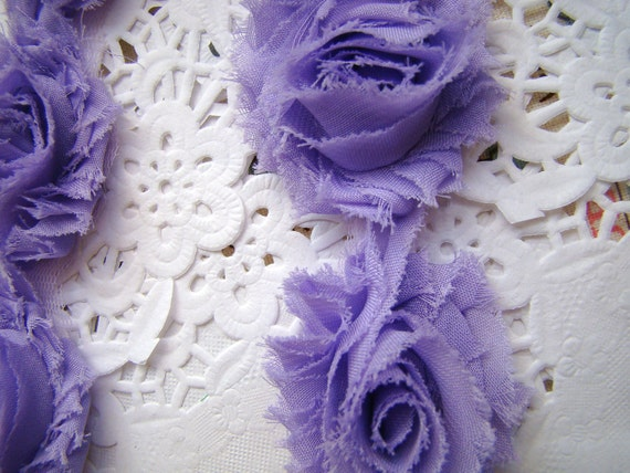 1 Yard Petite Flower Lavender Shabby Rosette Orange Fabric Trim for Home Decor Headband Costume Altered Couture Supplies