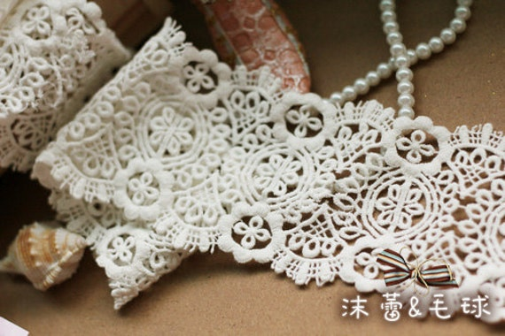 White Lace Trim , White Venice Lace, Bridal Lace, Costume Altered Couture Supplies