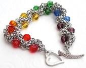 Rainbow crystal chainmail bracelet, plus size jewelry