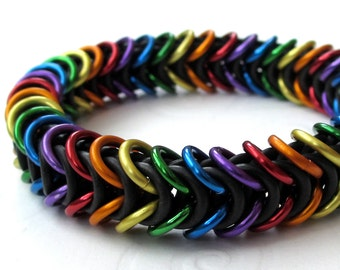 Rainbow chainmail bracelet, stretchy box weave, gay pride jewelry