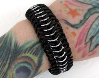Stretchy chainmail bracelet, black and gray bracelet for men or women