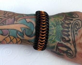 Stretchy chainmail bracelet, orange and black bracelet