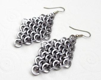 Chainmail earrings, gunmetal gray earrings, European 4 in 1 chainmail, diamond shaped earrings