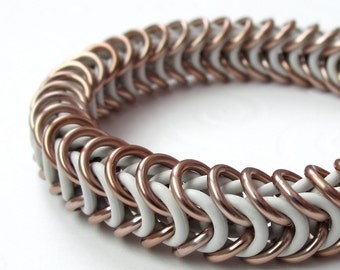 Clearance 40% off, White and tan chainmail bracelet, stretchy box chain bracelet, thick rubber bracelet