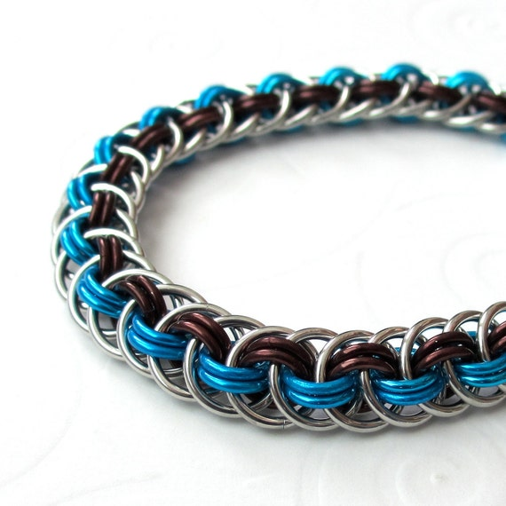 Make A Chain Mail Bracelet: Chain Mail Viper Basket Bracelet In Brown And Turquoise