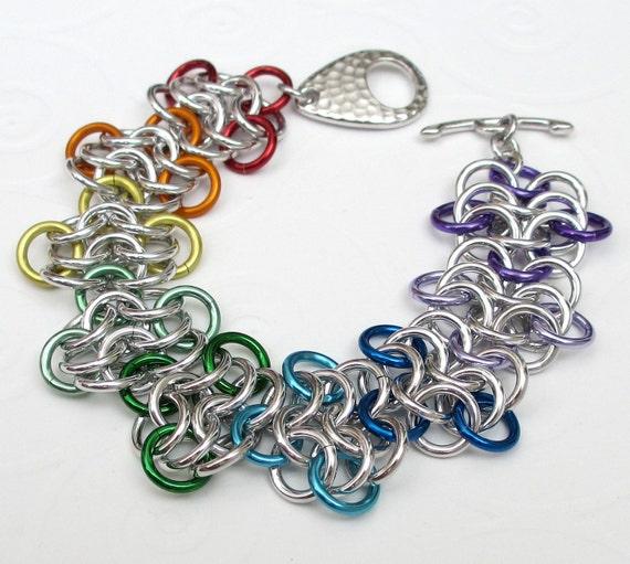 Chain mail bracelet, rainbow rosettes weave