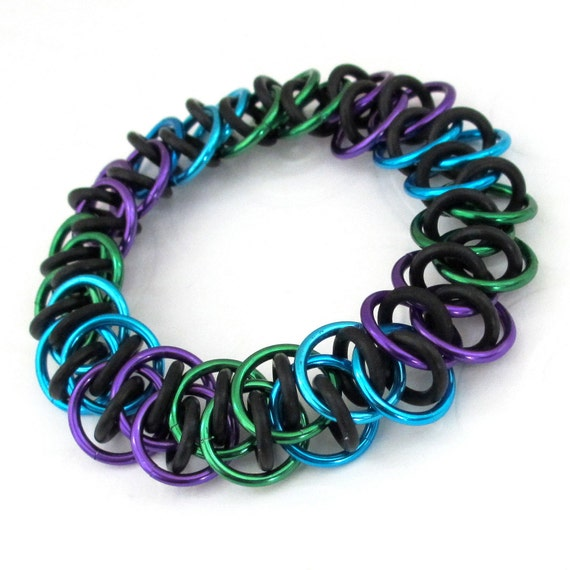 Peacock inspired stretchy chain mail bracelet