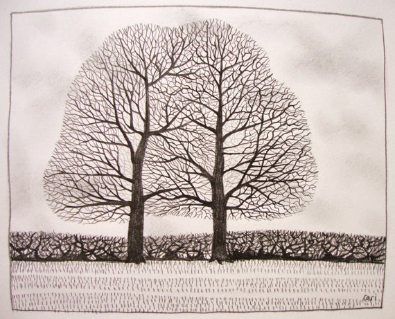 Twin trees A4 Print