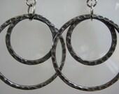 Antiqued Silver Double Hoop Earrings