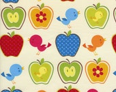 Apples & Birds Fabric, Retro design for Timeless Treasures, 1 YARD Cotton for Quilts or Sewing