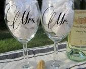 Mr./ Mrs. Wedding Wine Glasses. Personalized Wine Glasses. Wedding Gift. Wedding Toast.  Mr./Mr. Mrs./Mrs. Custom Gift.