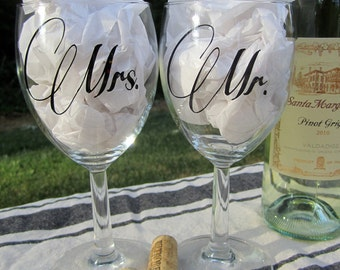 Mr./ Mrs. Wedding Wine Glasses. Personalized Wine Glasses. Wedding Gift. Wedding Toast.  Mr./Mr. Mrs./Mrs. Custom Gift.
