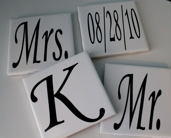 Personalized Monogram tile coasters. Wedding gift. Engagement Gift. Anniversary Gift. Personalized Home Decor. Anniversary Coasters.