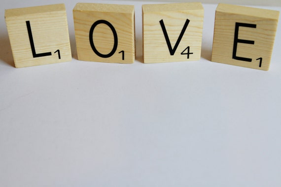 LOVE wood tiles inspired by Scrabble Tiles. Home Decor.  Photography  Prop. Wood Letters. Valentine's Day Decor. Valentine's Day Gift