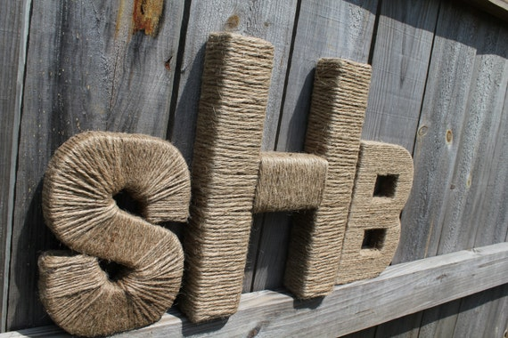 Jute Wrapped Monogram Set.  Wedding Decor. Nursery Decor. Jute Letter. Twine Letter. Typography. 3 Piece Monogram. Twine Letter. Monogram