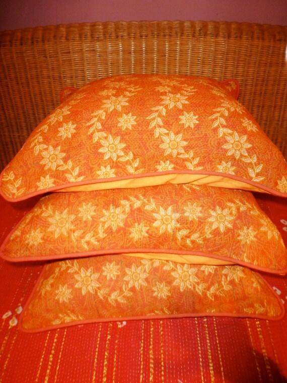 Orange throw Pillows, Kantha work, vintage, set of three