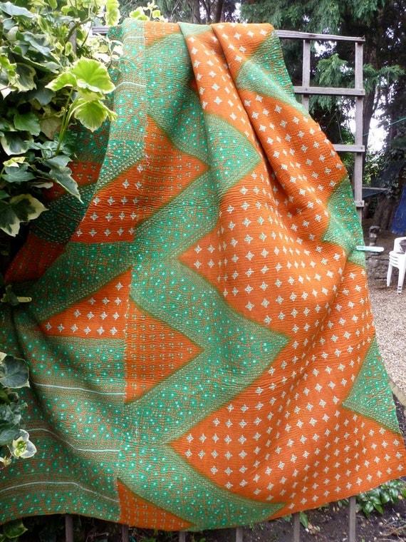 Small, beautiful vintage kantha quilt,sari throw, gudri, kantha blanket, upcycled,coverlet
