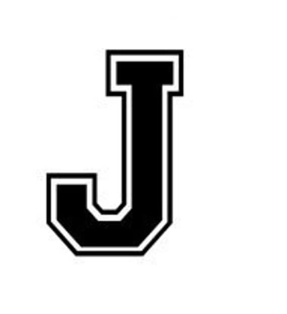 Letter J Varsity Lettering Vinyl Decal