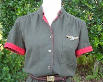 Vintage EAL Stewardess Uniform -  Eastern Airlines Flight Attendant Dress, Smock,  Belt and MORE