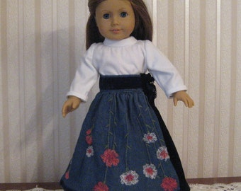 Embroidered jeans skirt with turtleneck for 18 inch dolls