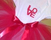 Tutu and Embroidered Onesie Valentine's Day Gift Set
