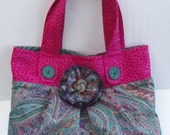 Custom Fabric Tote/Purse/Bag Colorful Rich Green Paisley Print with Hot Pink Animal Trim  with Fabric Flower Trim