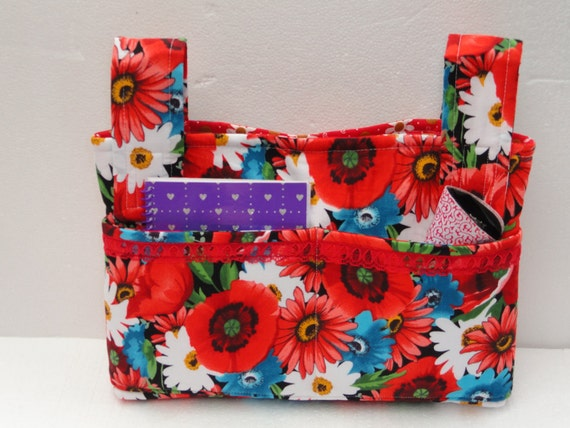 Walker Tote Bag in Reds, Turquoise, White Floral Print with Lace Embellishment