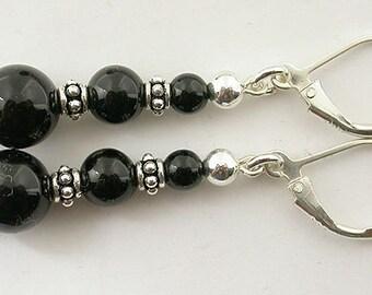 Genuine onyx lever back sterling silver earrings 56