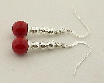 Coral Sterling Silver Earrings 09
