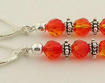 Fire Opal Swarovski Crystals Lever Back Sterling Silver Earrings 01