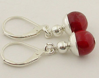 Red Coral Lever Back Sterling Silver Earrings 16