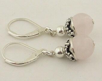 Genuine Rose Quartz Lever Back Earrings 12