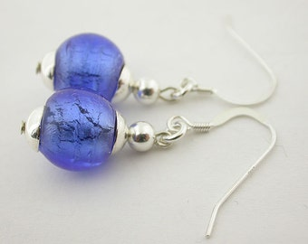 Blue Hand Made Glass Bead Sterling Silver Earrings