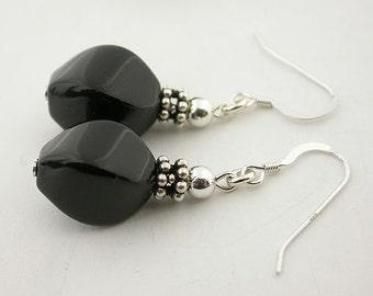 Genuine Onyx Sterling Silver Earrings 58
