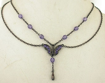 Tanzanite Victorian Vintage Look Butterfly Necklace Set 02