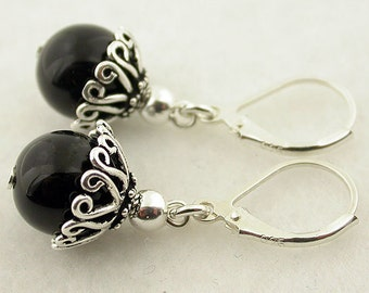Genuine Onyx Lever Back Sterling Silver Earrings 67