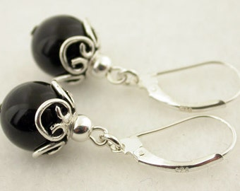 Genuine Black Onyx With Lever Back Sterling Silver Earrings 55